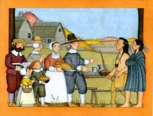 Pilgrims at thanksgiving