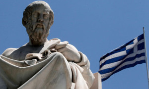 Statues of ancient Greek philosopher Plato, Athens, Greece