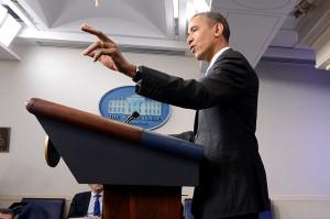 US President Barack Obama holds a news conference
