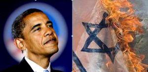 Obama burns Isreali flag