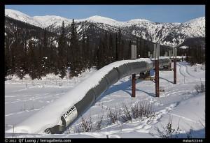 Trans Alaska Oil Pipeline in winter. Alaska, USA