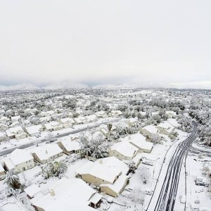 A So California Valley is covered in snow (Temecula, CA)