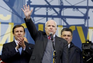 John McCain in Ukraine's Maiden Square supporting the revolution calling for regime change. Imagine Putin or a high ranking Russian politician doing this in Mexico.