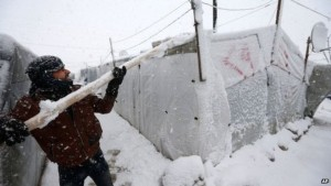 refugee tents in the snow