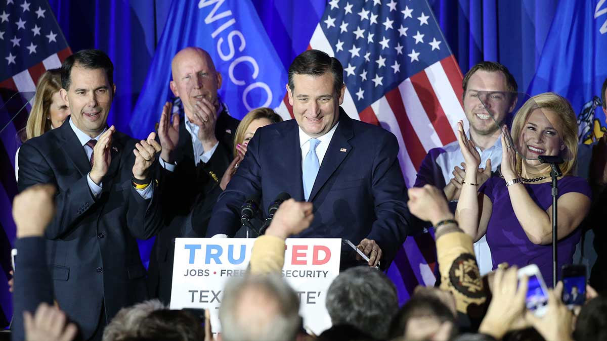 U. S. Presidentail Repulican candidate Ted Cruz speaks to reporters after winning the Wisconsin Primary in Milwaukee , Wisconsin, on April 5, 2016. The Texas senator rolled to a landslide victory over the Republican front-runner Donarld Trump. ( The Yomiuri Shimbun via AP Images )