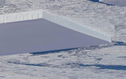 Tabular Iceberg in Antarctica as Seen from Space